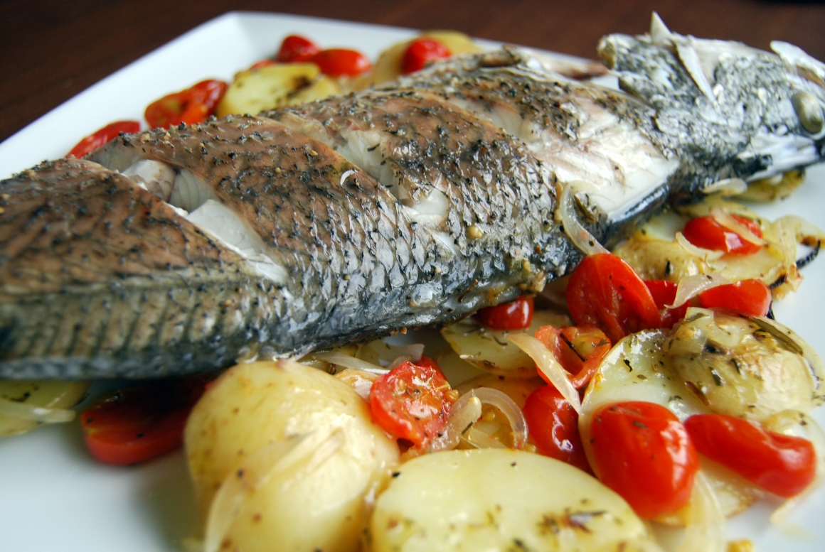 Baked Sea Bass with Onions, Potatoes and Tomatoes | Ctg Vini